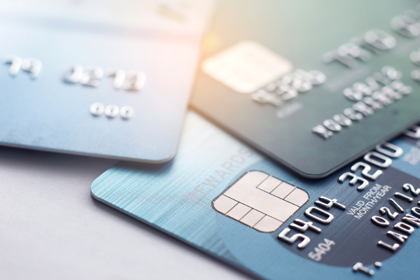 Close up of debit cards and credit cards